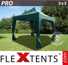 Flex canopy PRO 3x3 m Green, incl. 4 decorative curtains