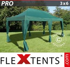 Flex canopy PRO 3x6 m Green, incl. 6 decorative curtains