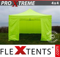 Flex canopy Xtreme 4x4 m Neon yellow/green, incl. 4 sidewalls