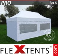 "Flex canopy PRO ""Peaked"" 3x6 m White, incl. 6 sidewalls"