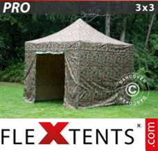 Flex canopy PRO 3x3 m Camouflage/Military, incl. 4 sidewalls