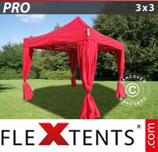 Flex canopy PRO 3x3 m Red, incl. 4 decorative curtains