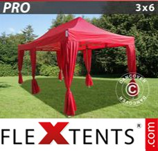 Flex canopy PRO 3x6 m Red, incl. 6 decorative curtains