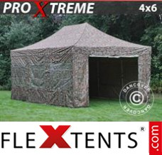 Flex canopy Xtreme 4x6 m Camouflage/Military, incl. 8 sidewalls