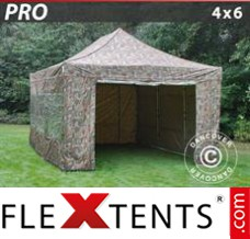 Flex canopy PRO 4x6 m Camouflage/Military, incl. 8 sidewalls