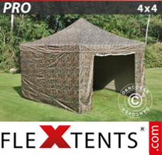Flex canopy PRO 4x4 m Camouflage/Military, incl. 4 sidewalls