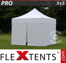 "Flex canopy PRO ""Peaked"" 3x3 m White, incl. 4 sidewalls"