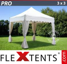 "Flex canopy PRO ""Wave"" 3x3 m White, inkl. 4 decorative curtains"